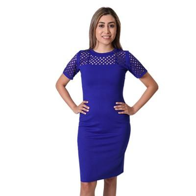 Women's Blue Floral Embroidery Designed Pencil Dress