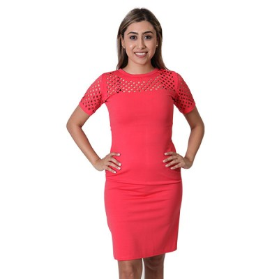 Women's Peach Floral embroidery Designed Pencil Dress