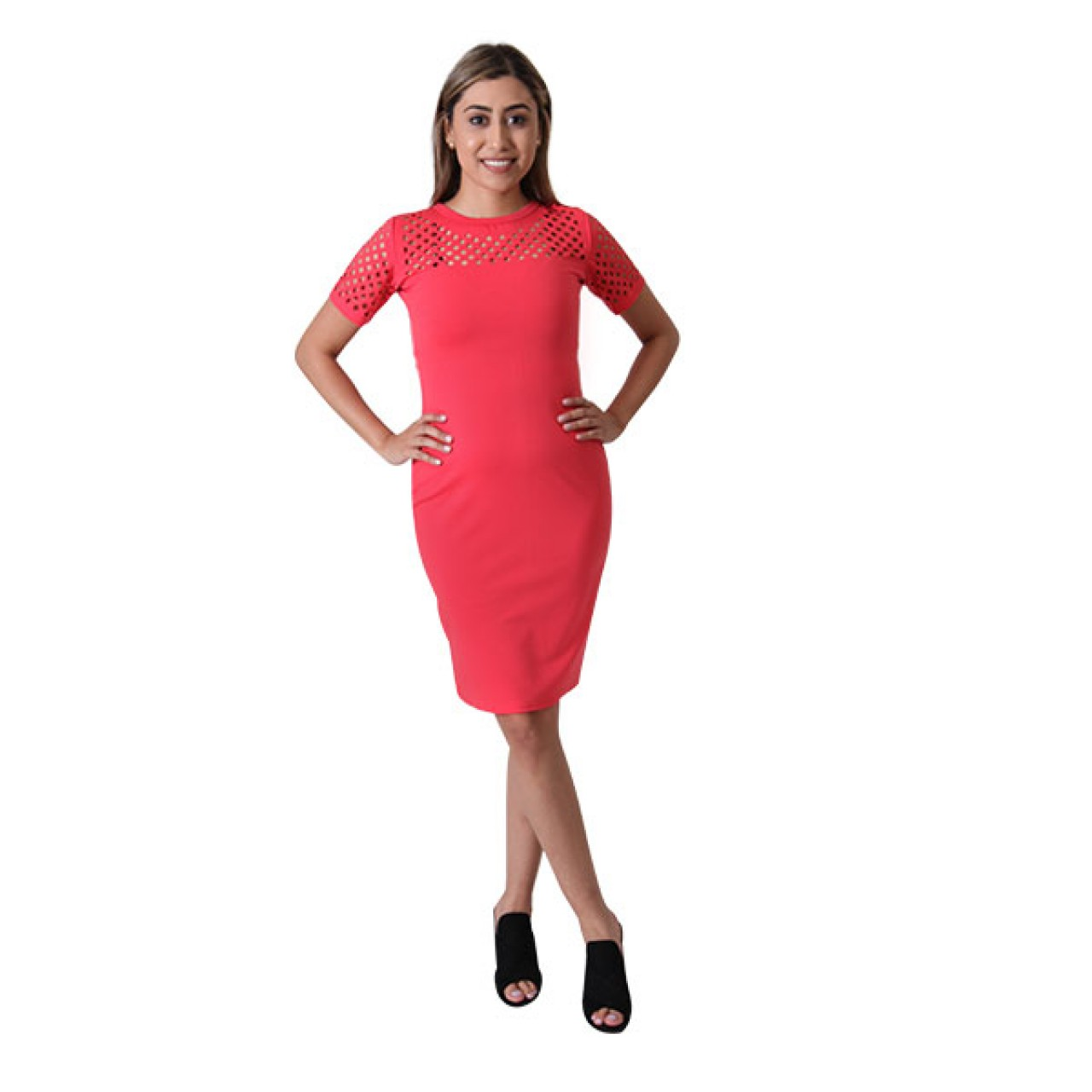 Womens Rose Floral embroidery Designed Pencil Dress