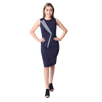 Patchwork Women Navy Blue Sleeveless Slim Fit Pencil Dress