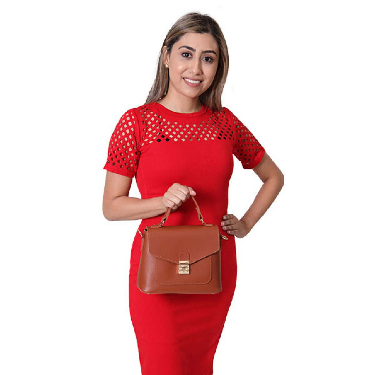 Womens Bloody Red Floral embroidery Designed Pencil Dress