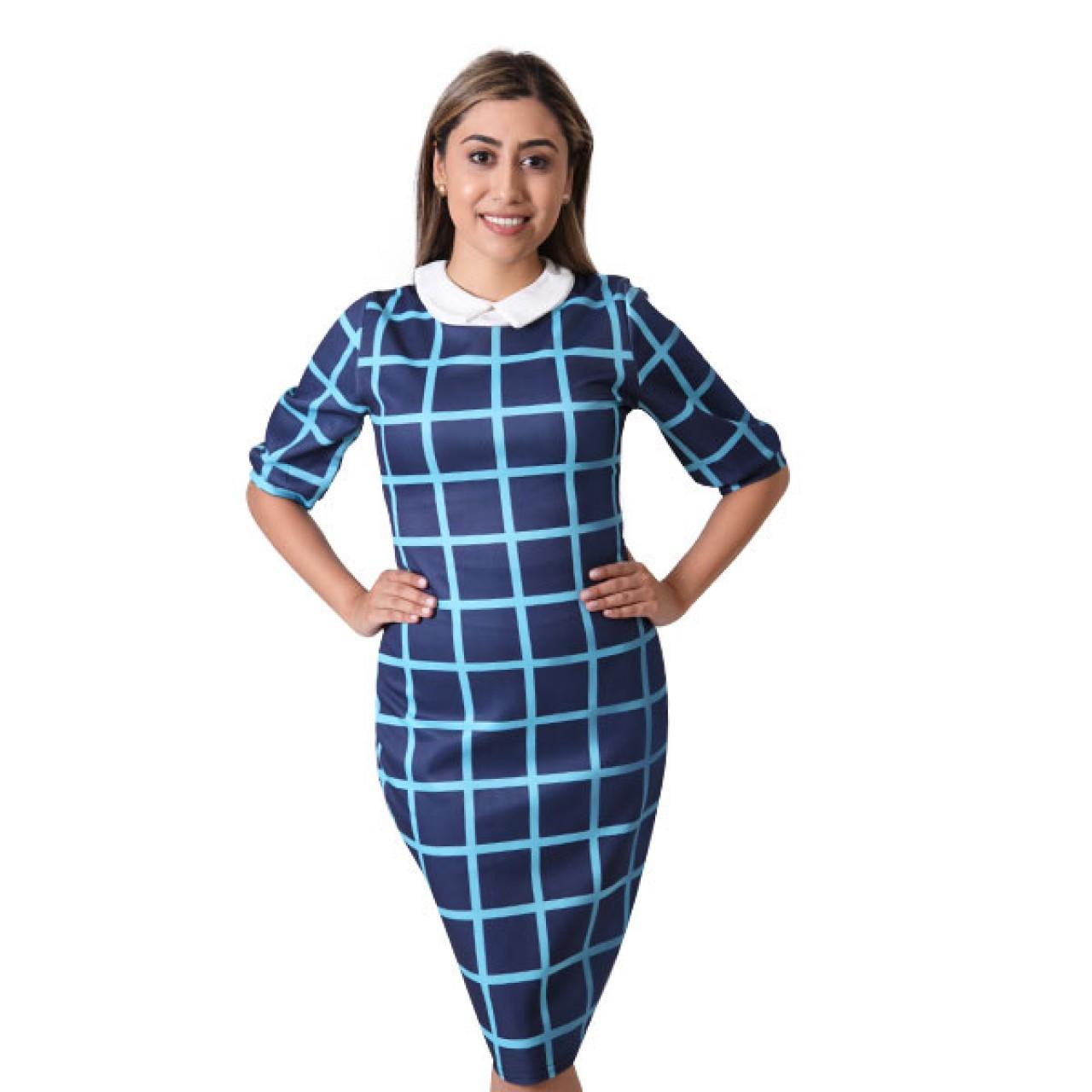 Women Royal navy Blue striped Slim Fit Crossfit Dress