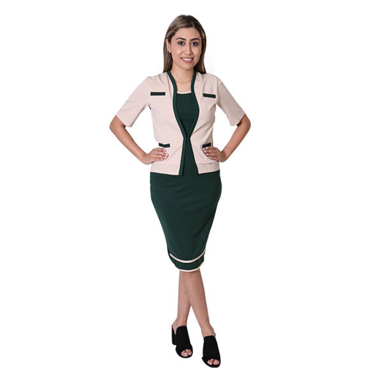 Women's Green Midi Dress with Sleeve Waist coat