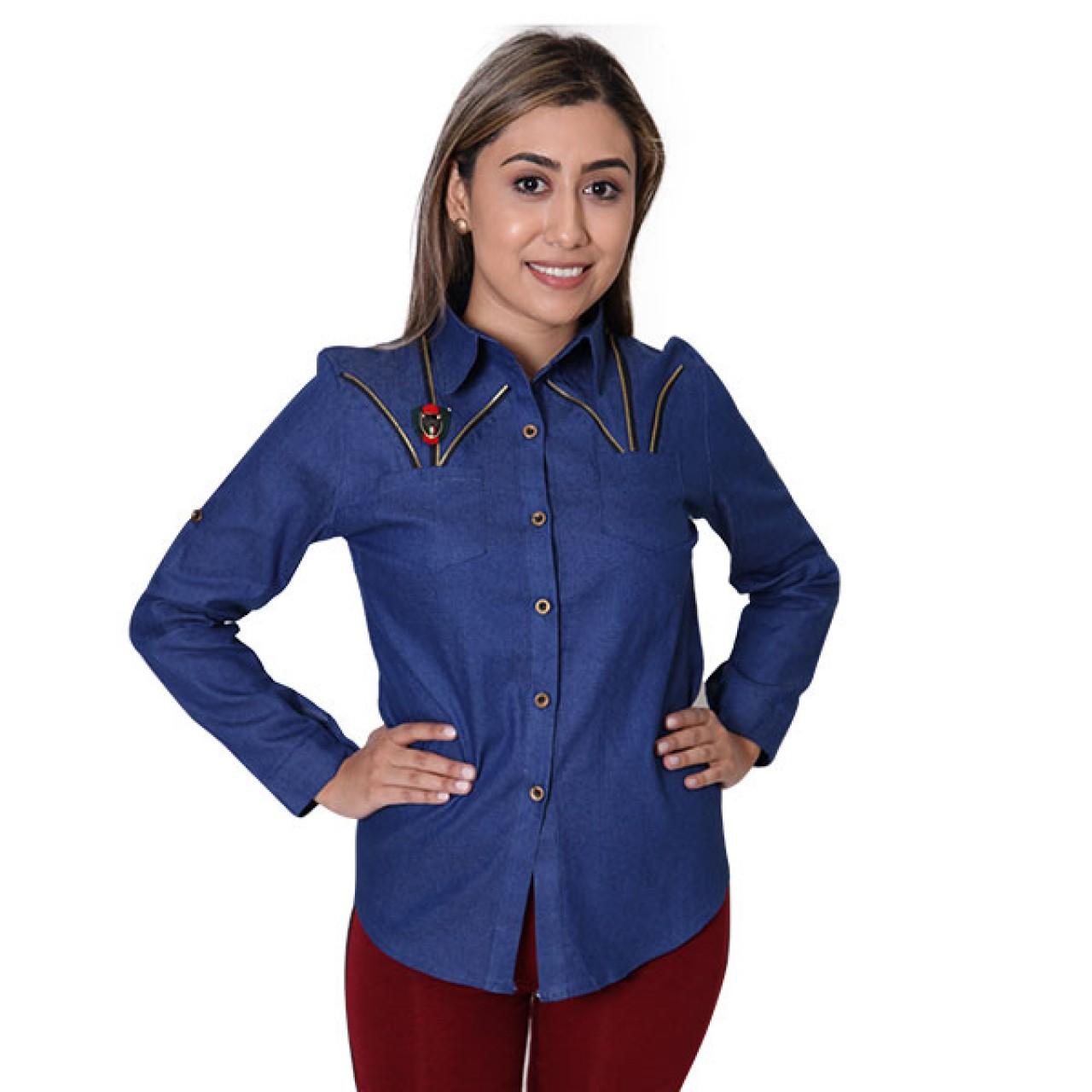 Women Blue Full Sleeve Collared Designer Shirt