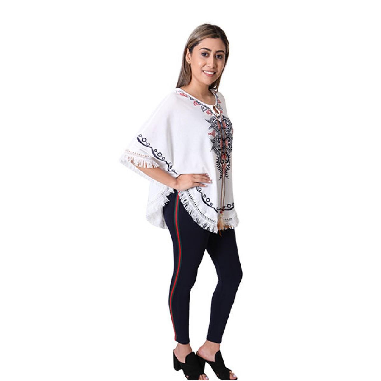 Women Royal Designer White striped Slim Fit Crossfit Dress With Pant