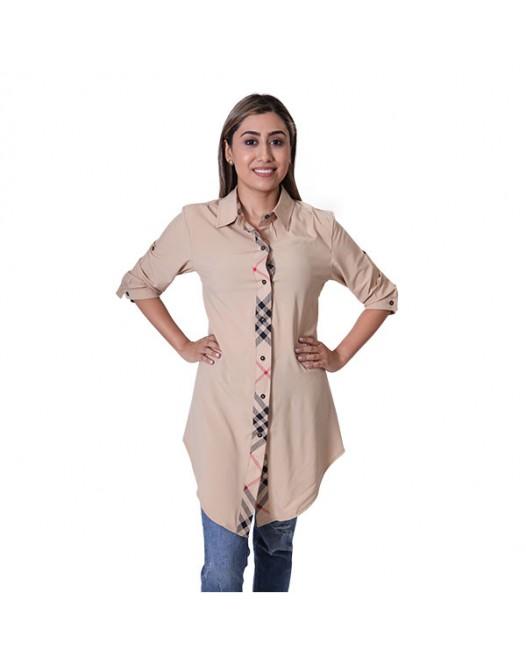 Women's Light Skinny Shirt Type Royal Design Top