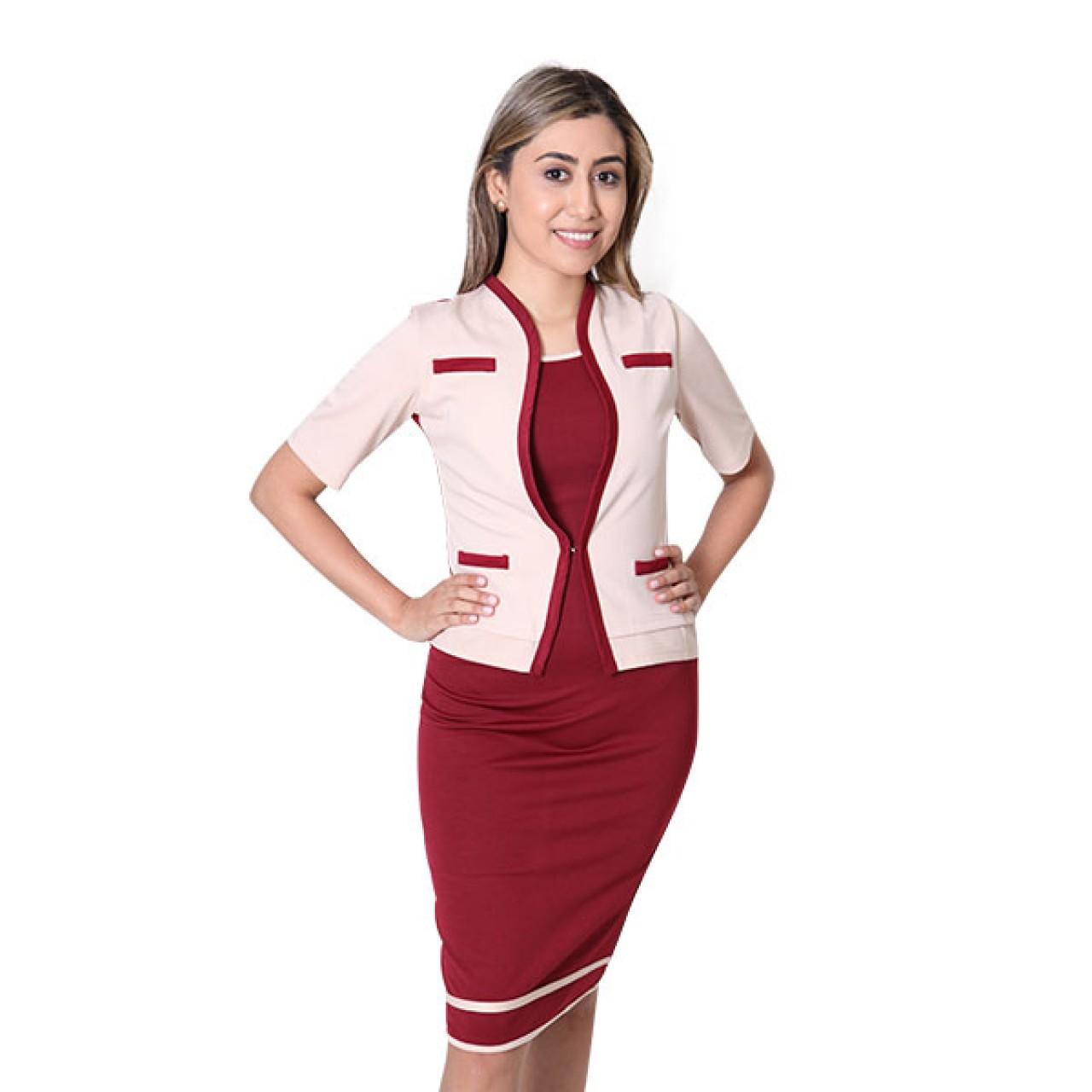 Women's Marron Midi Dress with Sleeve Waist Coat
