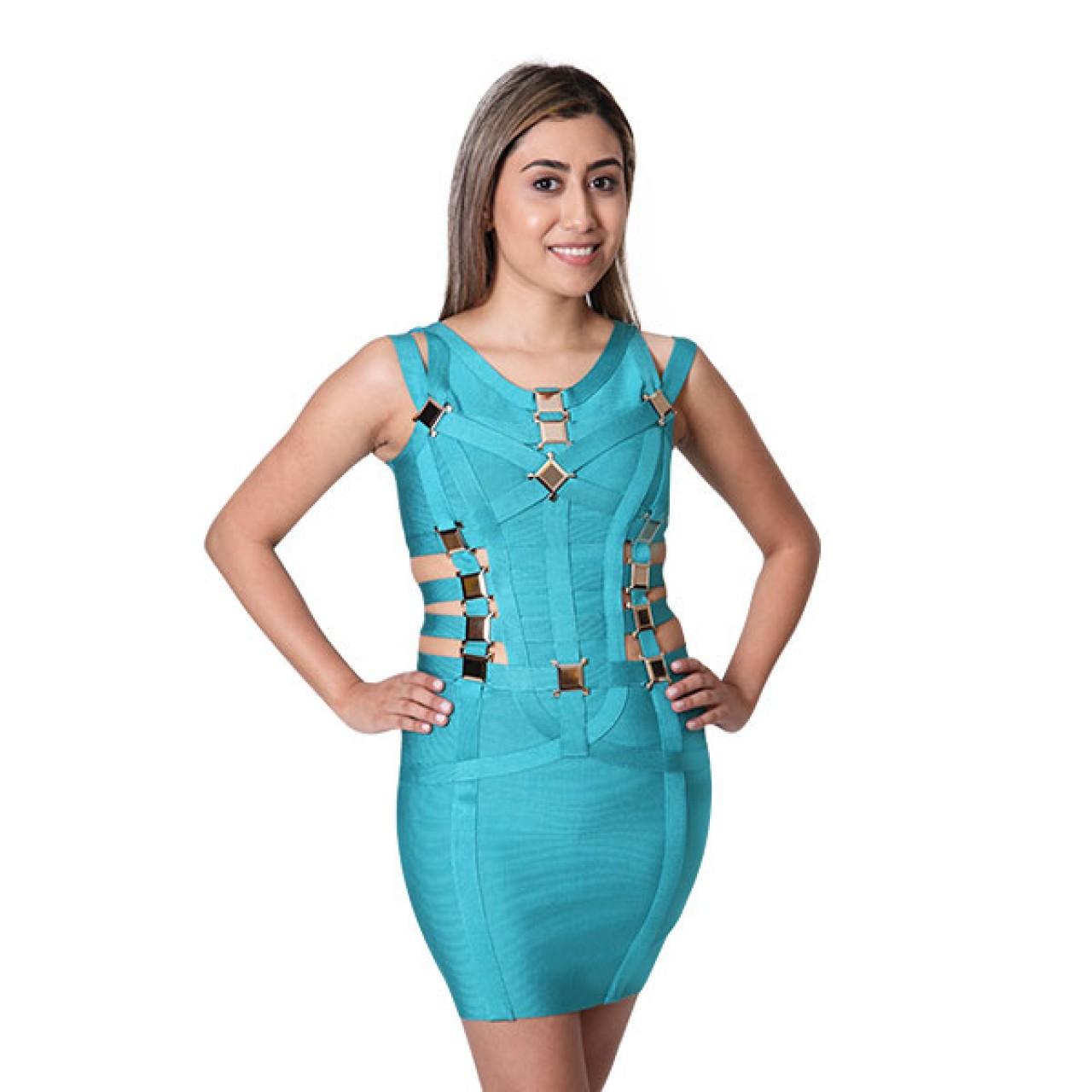 Summer Women Short Pencil fit Bodycon Bandage Dress Blue Straps