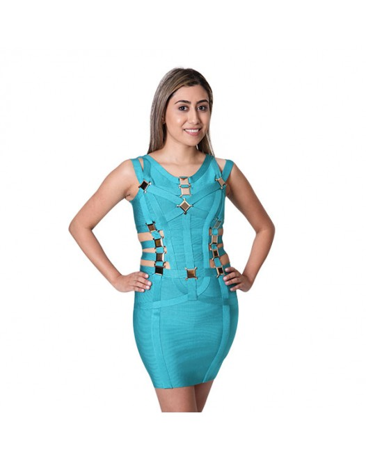 Summer Women Short Pencil fit Bodycon Bandage Dress Blue Straps