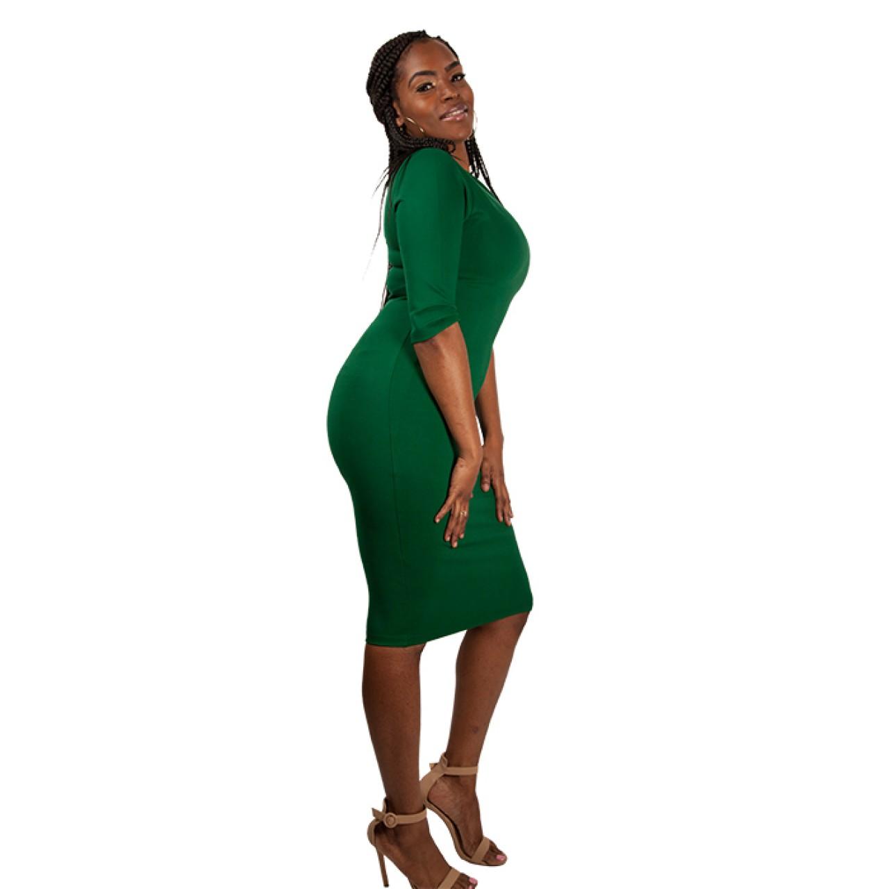 Ruched Neckline Crepe Midi Length Sheath Dress