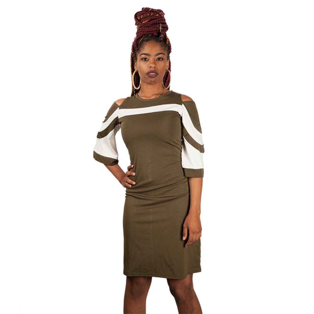 Cold Shoulder Stripe Round Neck Flared Sleeves Dresses