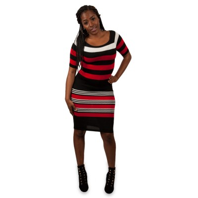 Women Stripe Knitted Sleeve Dress