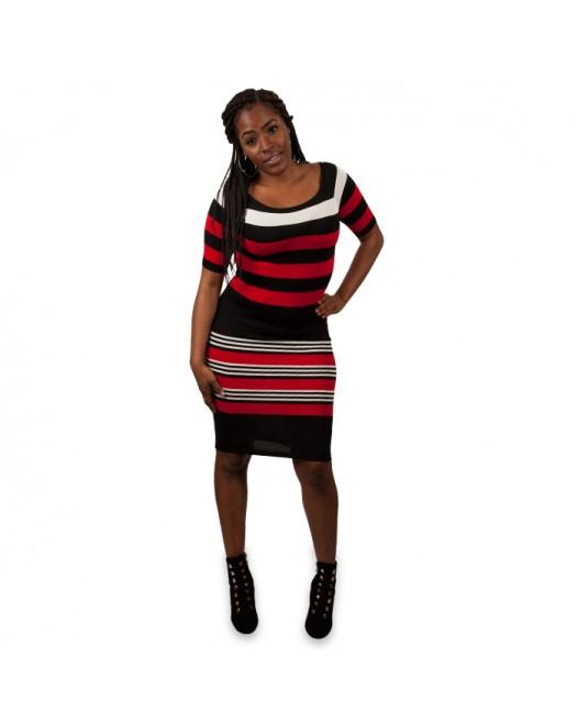 Women Stripe Knitted Sleeve Dress