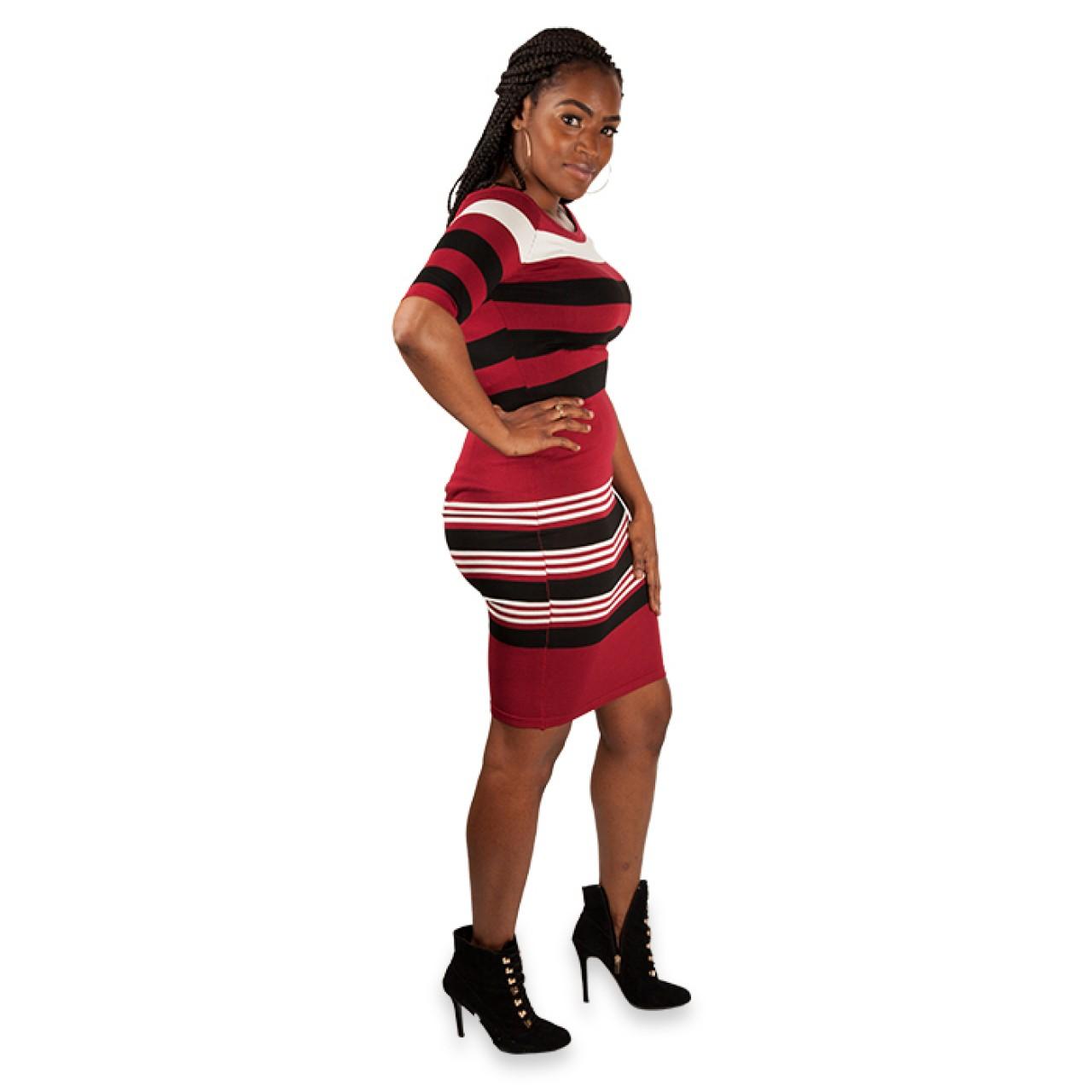 Women Maroon Stripe Knitted sleeve Dress