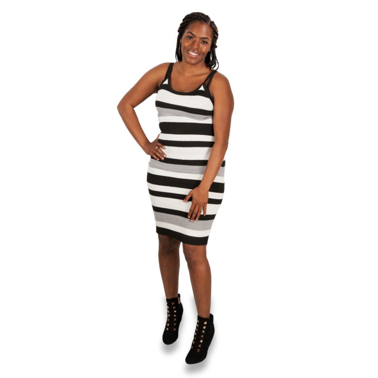 Women's designer Striped Belted Sheath Dress