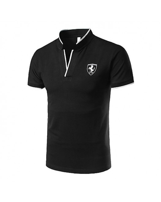 Men's New Short Collared Black Tees