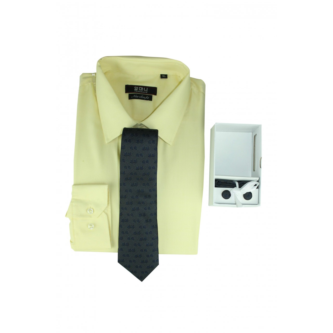 Men's Formal basic VOGUE LIFE Flat Yellow shirt- Set