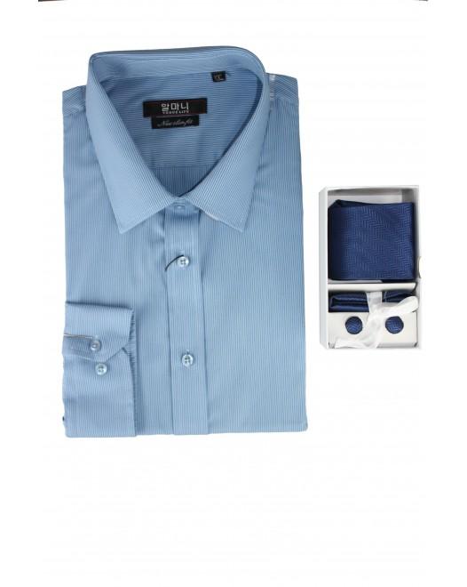 Striped Blue Shaded Mens Formal Basic VOGUE LIFE Shirt - Set
