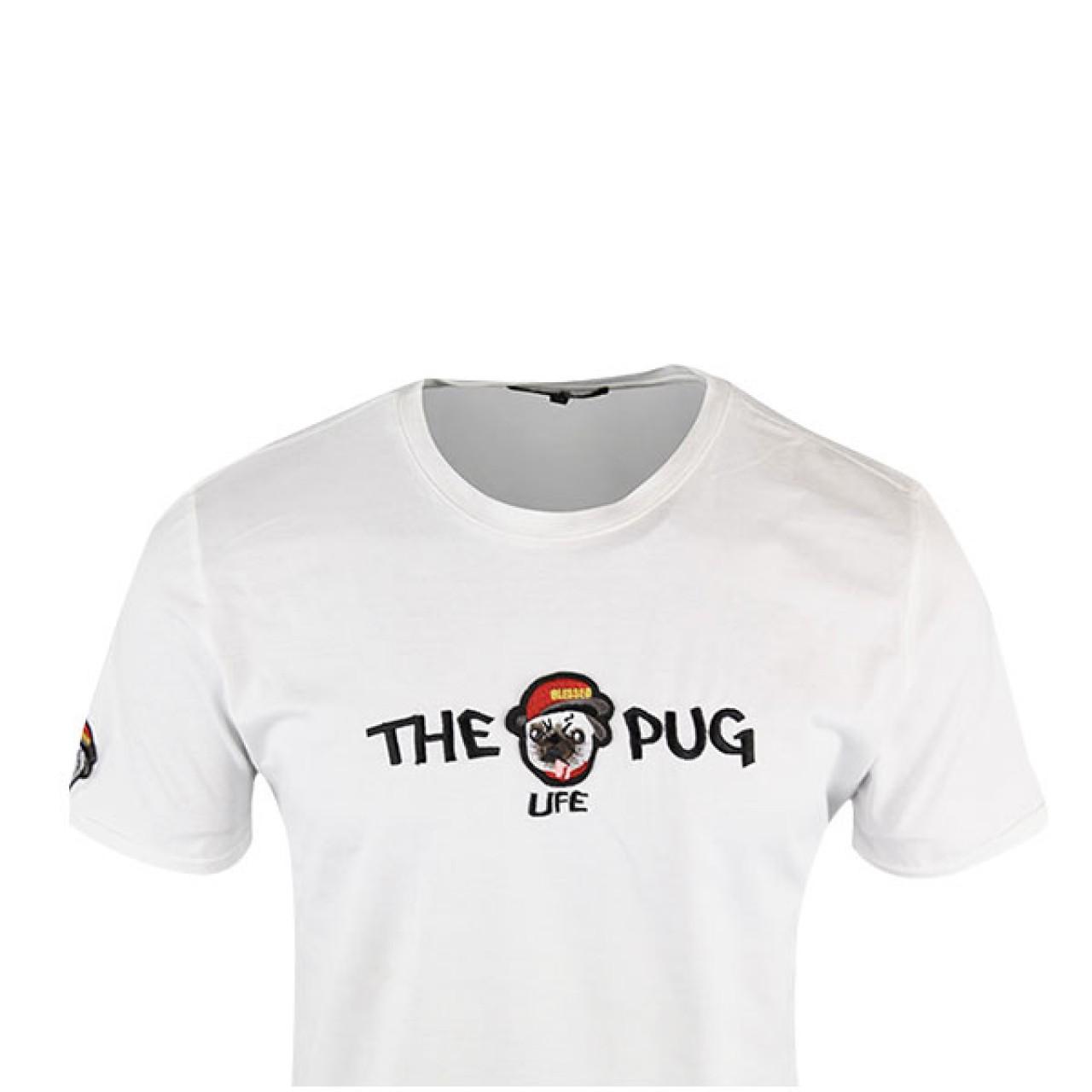 New Pug Life Men's White Crew Neck Tees
