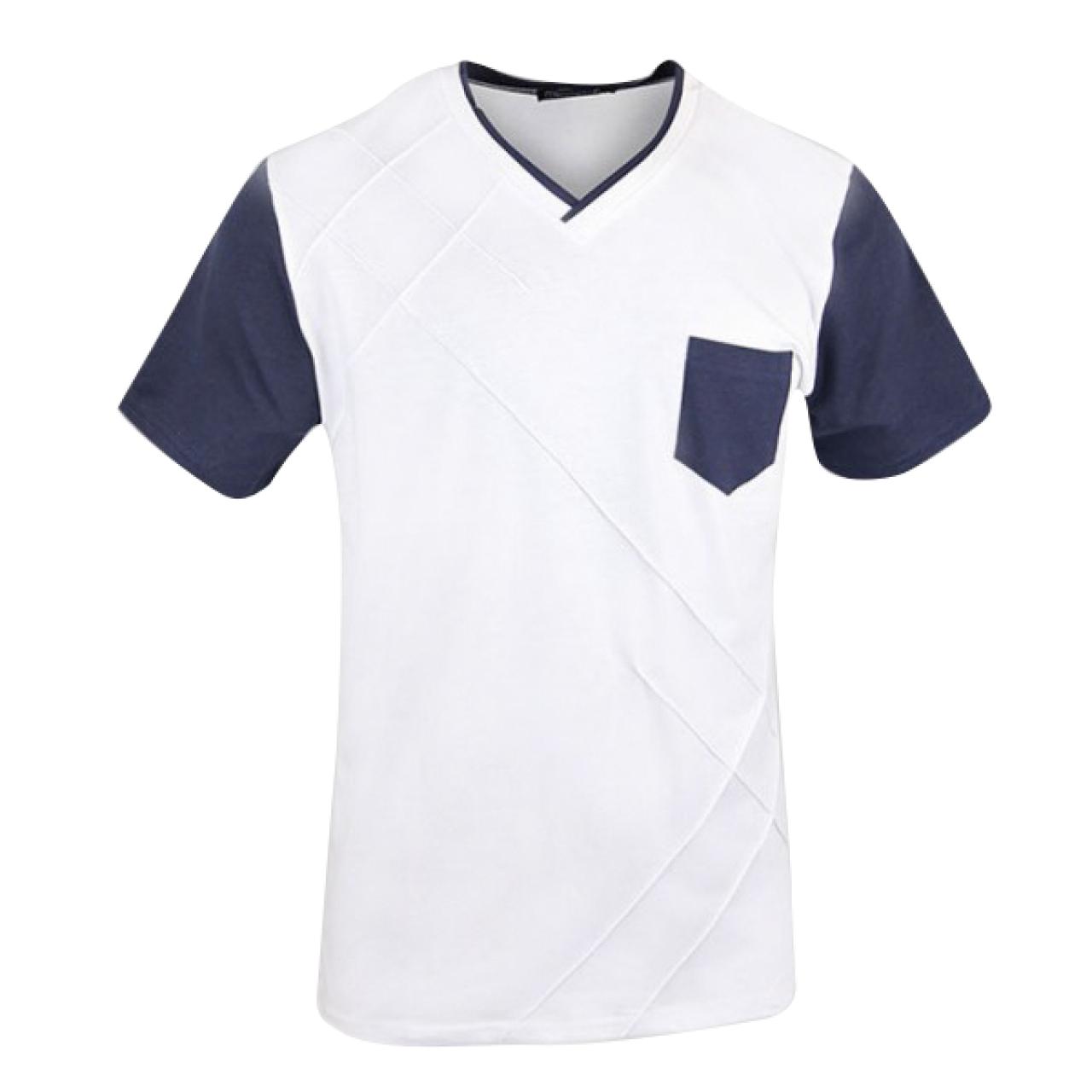 Men's V-Neck Tee Royal White Color With Designer Stripe