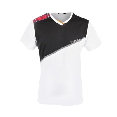Men's Karerqi White V-neck Tshirt With Unique Design