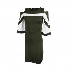Women's Off Shoulder Plaid Dress  Skirt Green