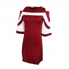 Red Off Shoulder Plaid skirt dress for Women's