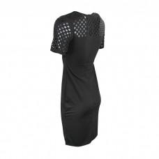 Dark Black Net sleeves dress