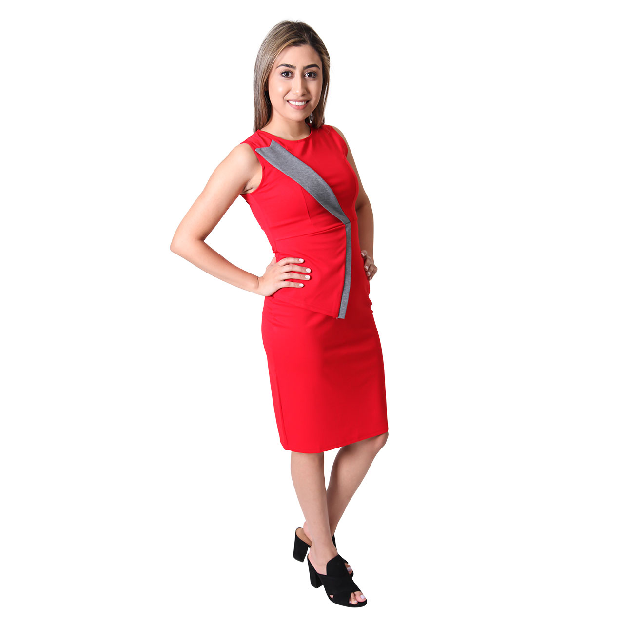 Sleeveless Round-Neck Patchwork Red Slim Fit Pencil Bodycon Dress