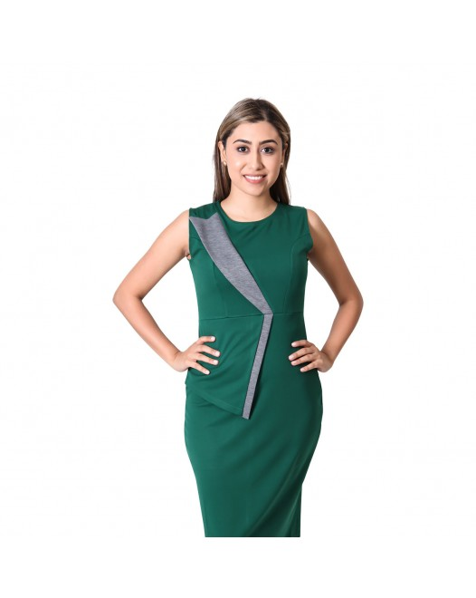 Round-Neck Knee-Length Patchwork Sleeveless Green Slim Fit Bodycon Dress