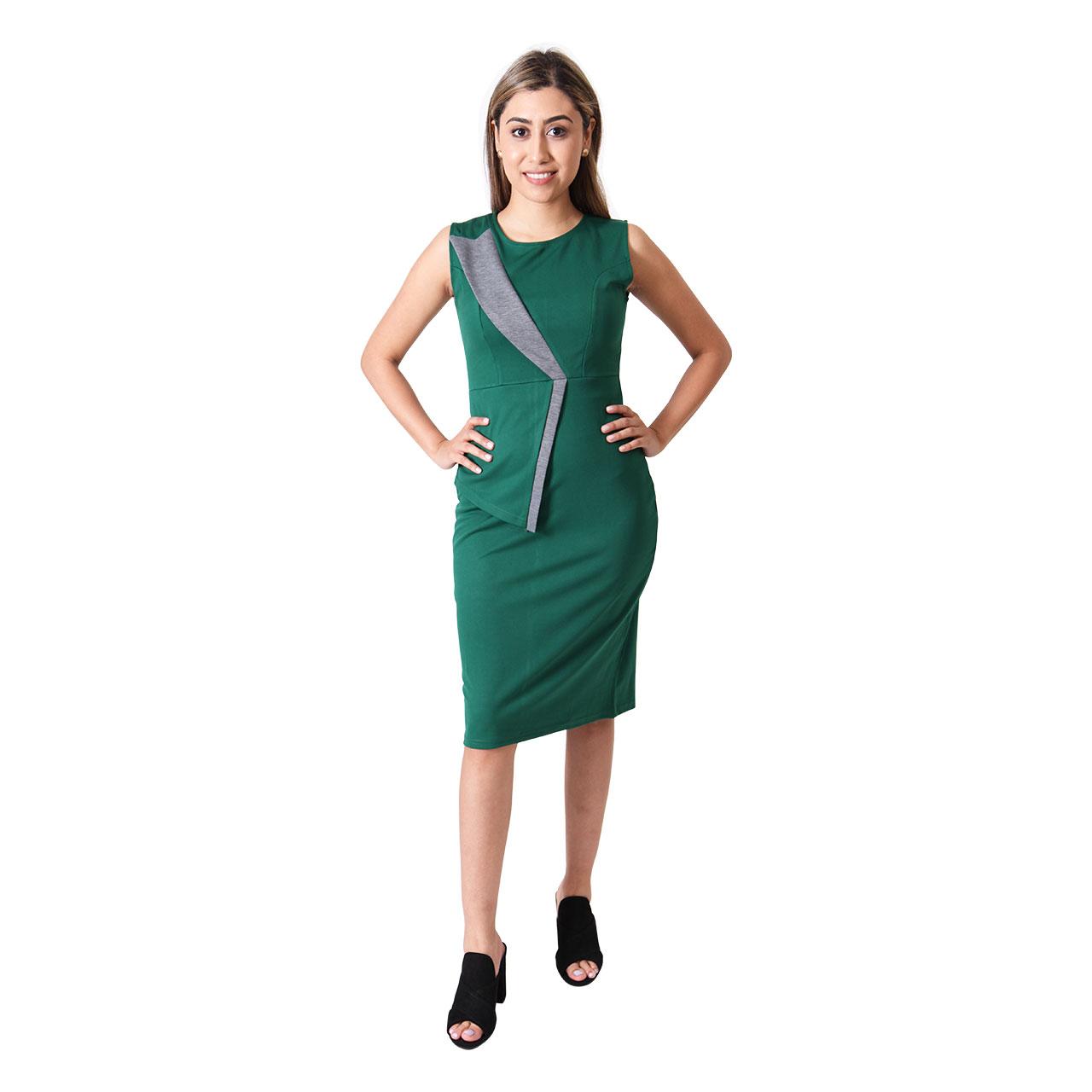 Round-Neck Knee-Length Patchwork Sleeveless Green Slim Fit Bodycon Dress
