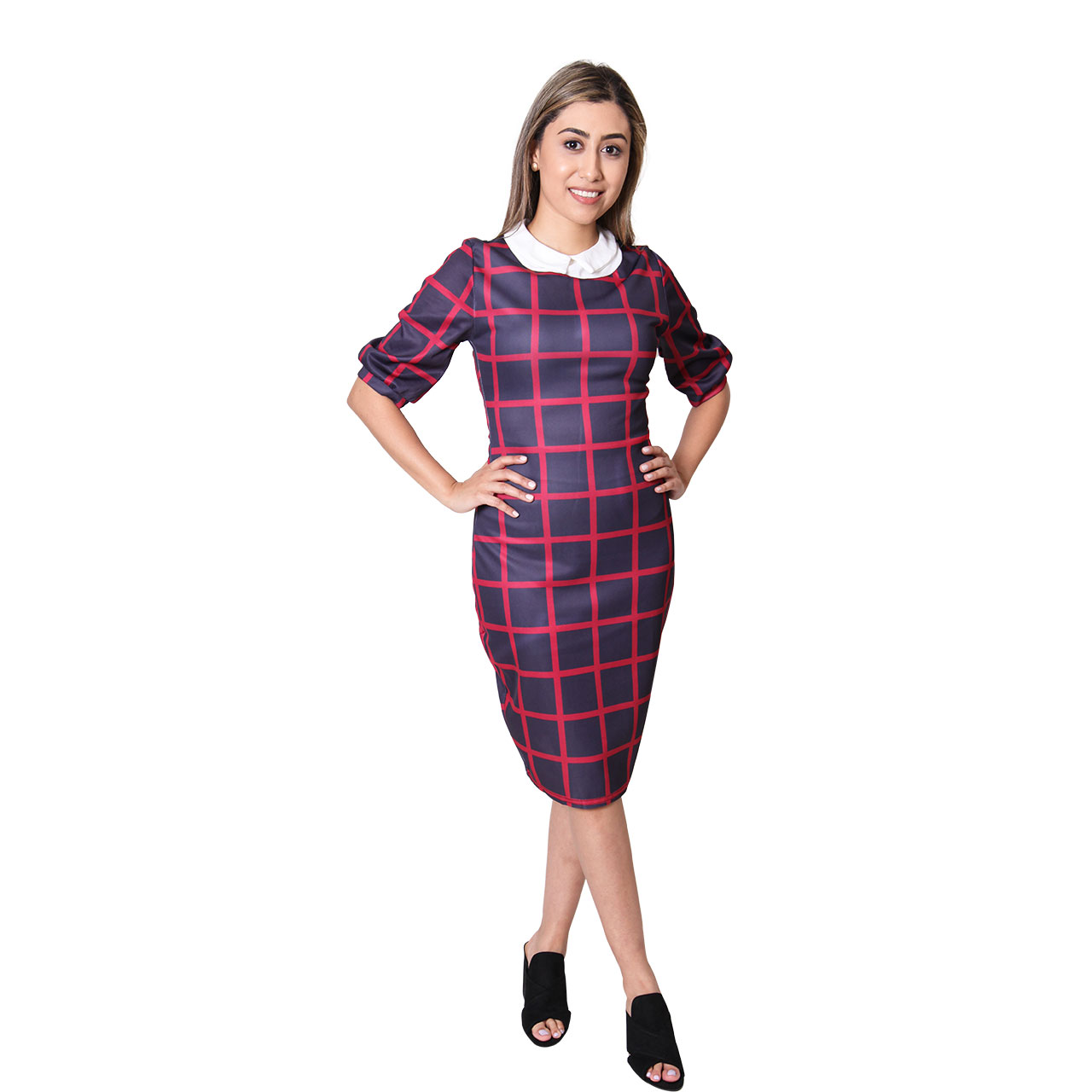 Women Mock-Neck Royal Blue And Red Long Sleeve Plaid Pencil Mini Party Bodycon Dress