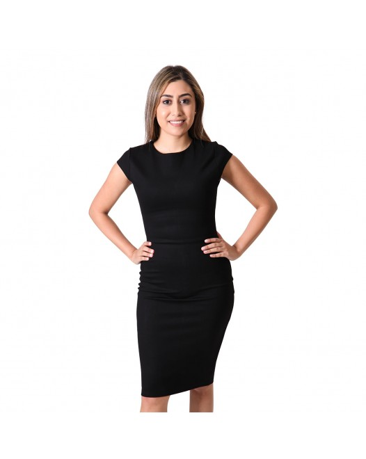 Short Sleeve Black Bodycon Midi Dress For Women