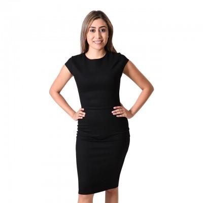 Short Sleeve Black Bodycon Midi Dress For Women