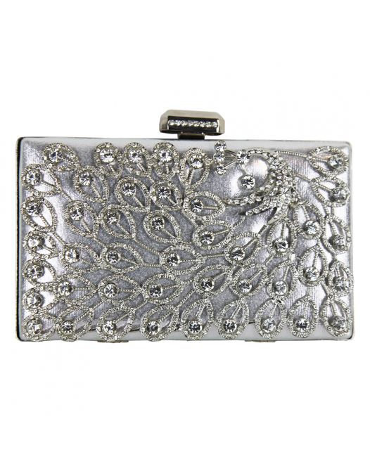 Embroidery Party Silver Clutch