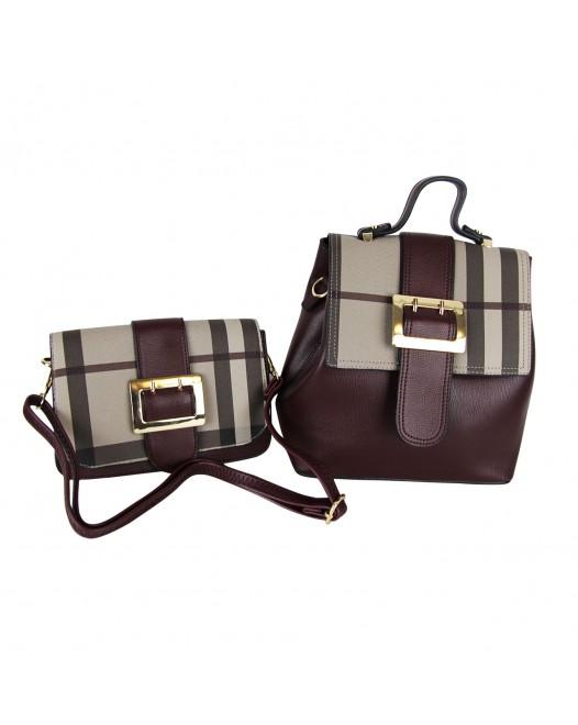 2 in 1 Brown Tote / Shoulder Bag & Crossbody Bag For Women