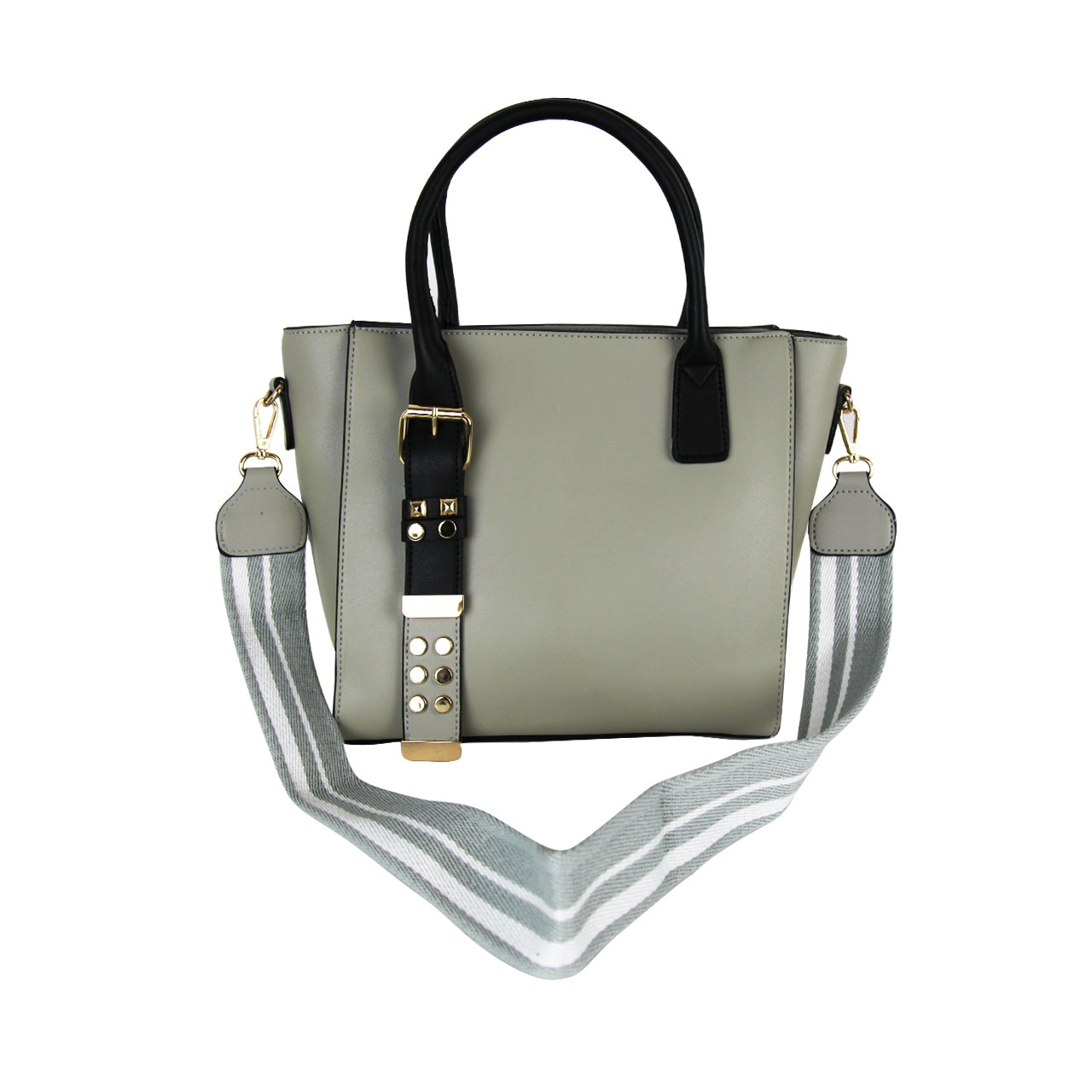 Brown/Gray PU Leather Shoulder Bag For Women