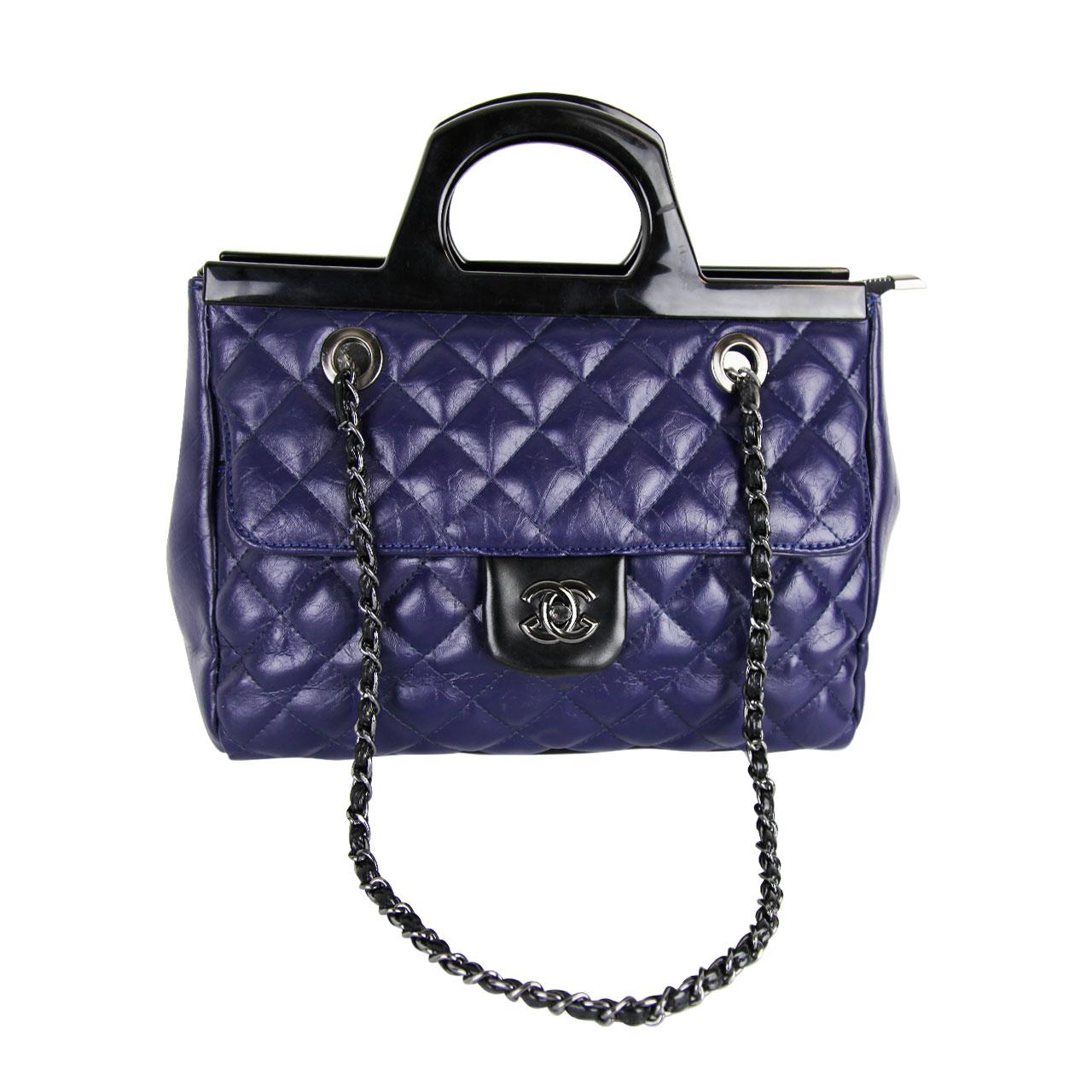 Classic Flip Black/Blue Satchel Bag For Women