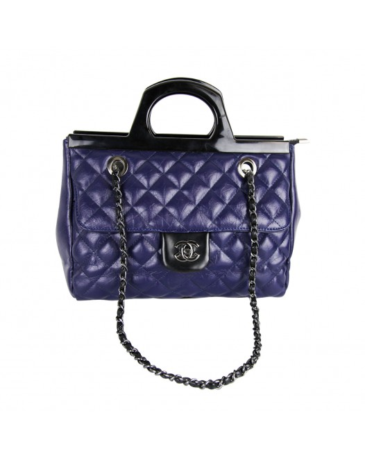 Classic Flip Black/Blue Satchel Bag For Women