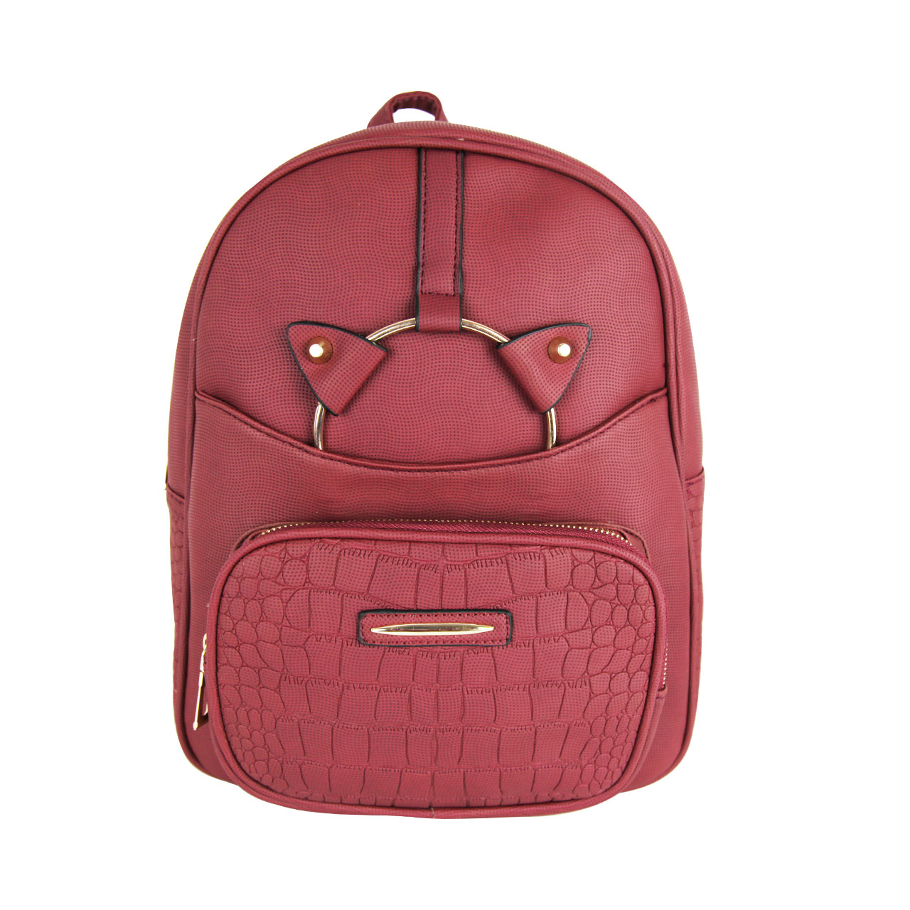 Women's Leather Maroon Front Pocket Backpack