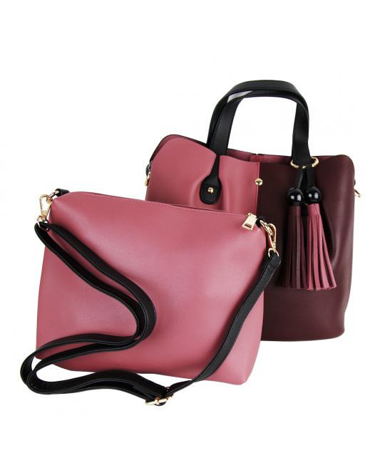 2 In 1 Pink Leather Tote/Shoulder Bag/Crossbody Bag