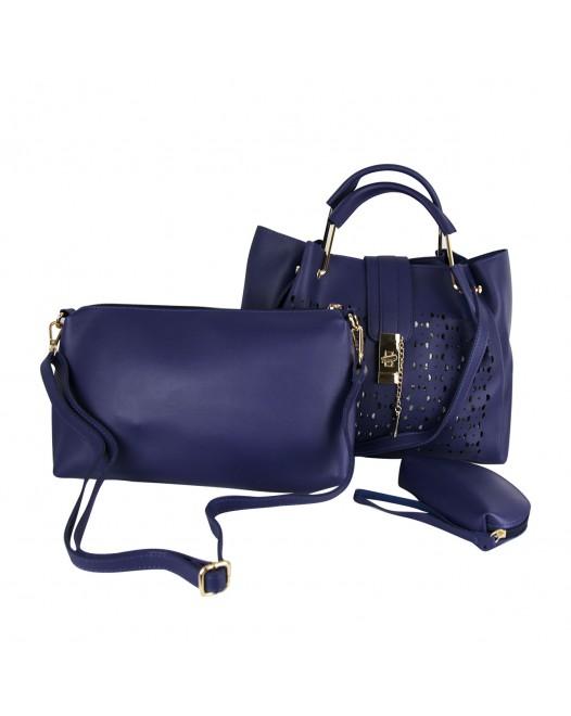 PU Leather Teal Blue / Green Handbag Purse Bag Set For Women