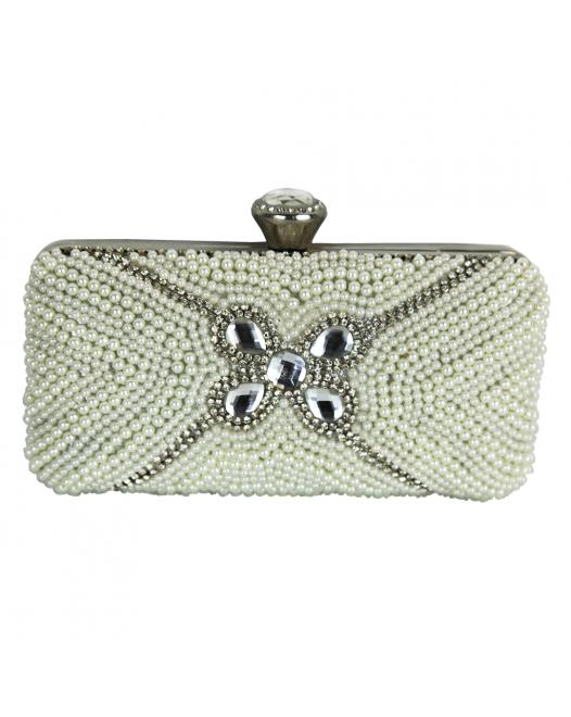 Luxury White Silver Clutch