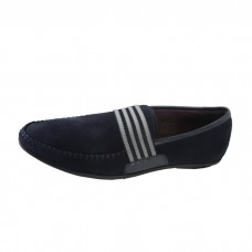 Men's Slip-On Suede Leather Strap Flat Loafers-Denim Blue