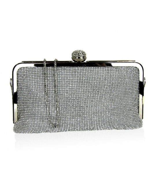 Women Glitter Clutch Bag Silver With Chain