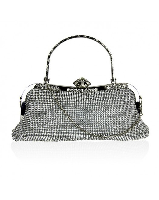 Sparkling Glitter Silver Mini Coin Purse With Chain