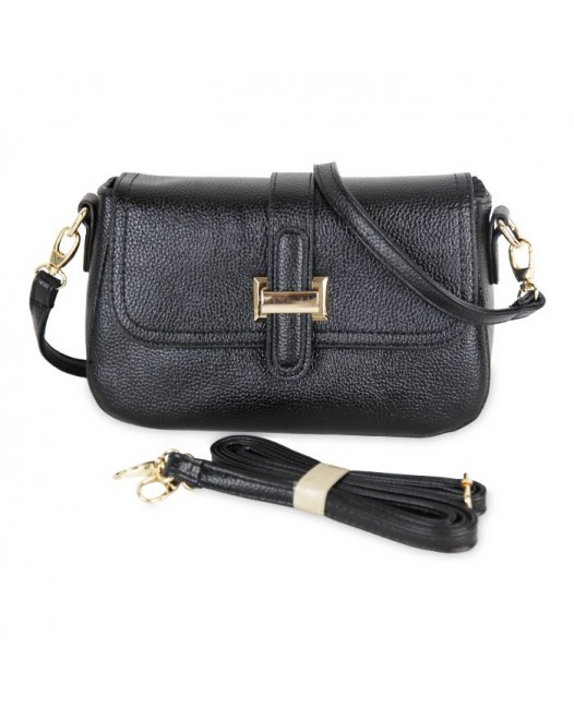 Front-Flap Leather Clutch Women Cross Body Bag- Black