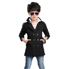 Boy Cotton Polyester Winter Trench Coat