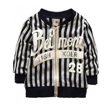 Boy Stripe Print Cardigan Baseball Jacket