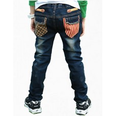 Boy's Casual Cotton Color Block Jeans